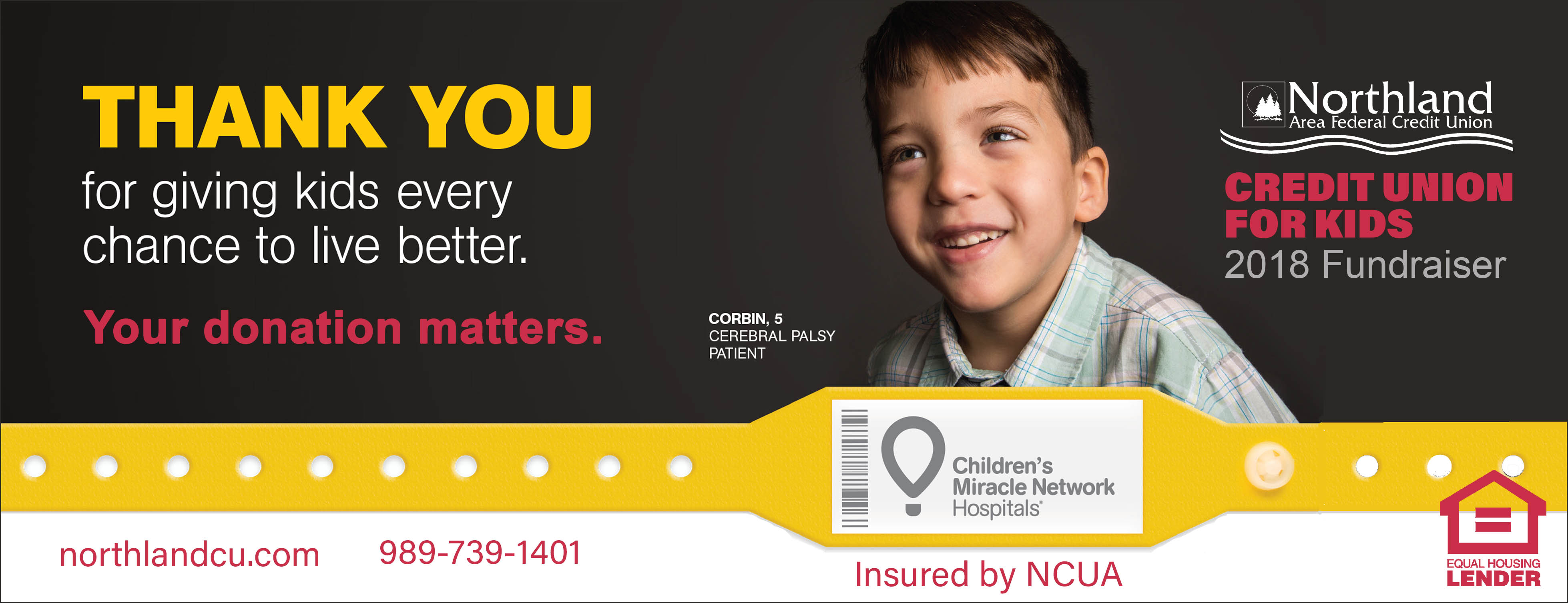 2018 Northland Home page banner Childrens Miracle Network donations accepted
