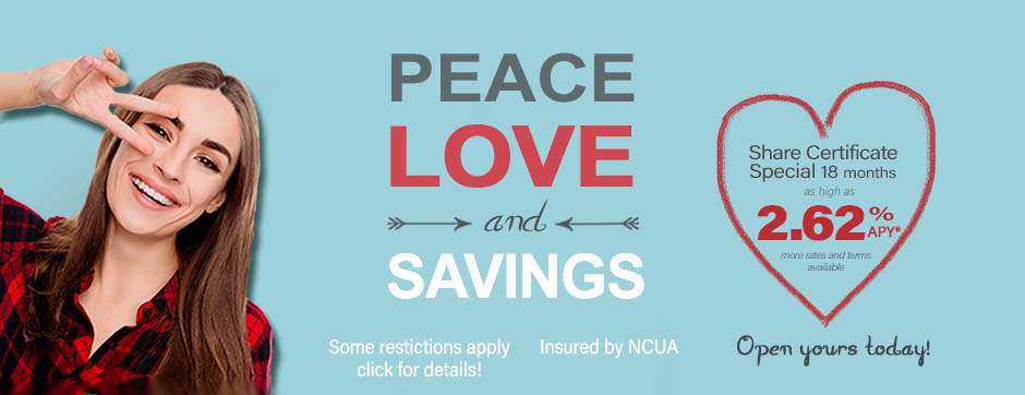 Savings Certficate specials Home Page Banner Peace Love Savings