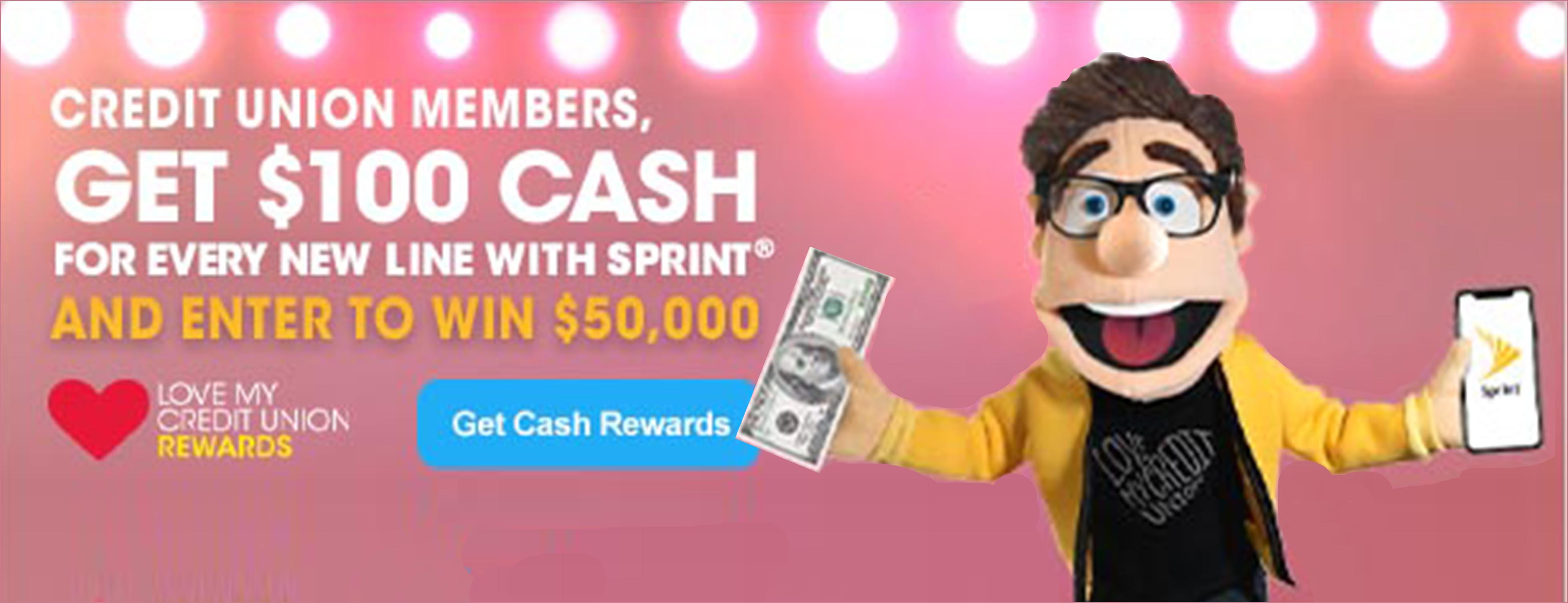 Love My Credit Unin Rewards Sprint Sweepstakes banner