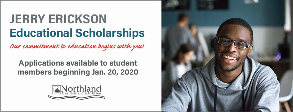 2020 Jerry Erickson Educational Scholarship Applications Available beginning Jan. 20th  2020