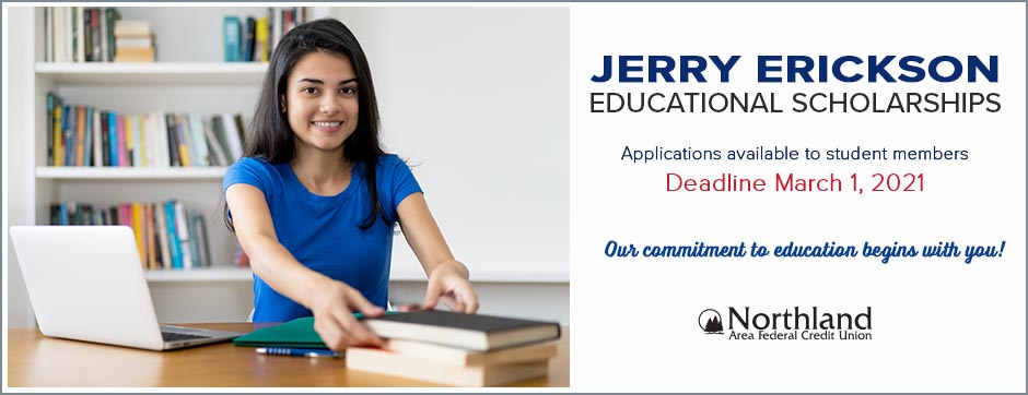 Jerry Erickson educational scholarship applications become available beginning Jan 20, 2021